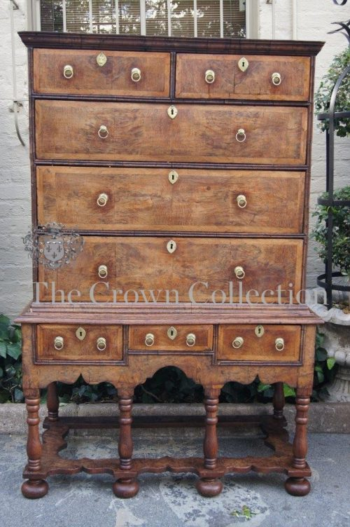 Antique Pollard Oak Tall Boy Chest on Stand