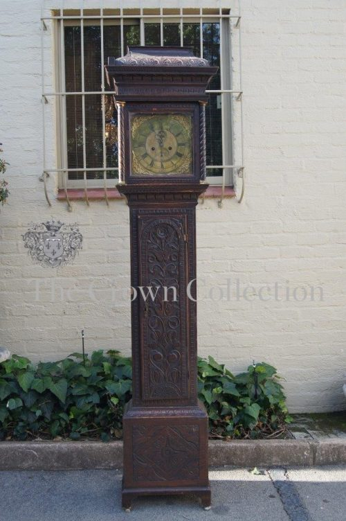 Late 18th/Early 19th Century Warburton Liverpool Longcase Clock in Carved Oak Case ND