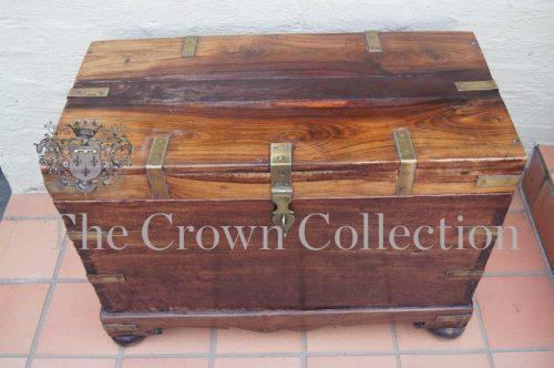 19th Century Fruitwood & Brass Bound Kist