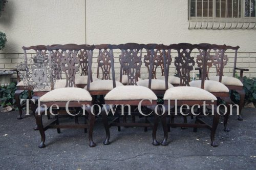 Set of 12 Chippendale Style Mahogany Dining Chairs (10 Chairs & 2 Carvers)