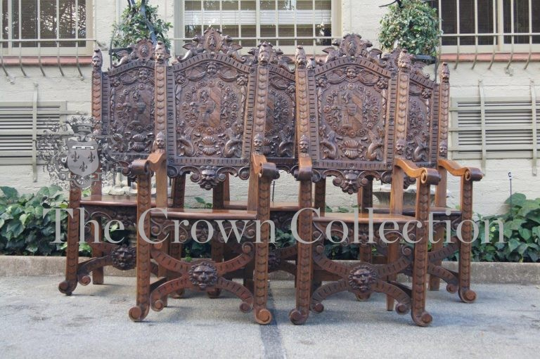 Set of 5 Carved Continental Throne / King Chairs
