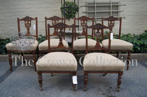 Set of 6 Edwardian Mahogany Dining Chairs - 4 Adult & 2 Children Size Chairs