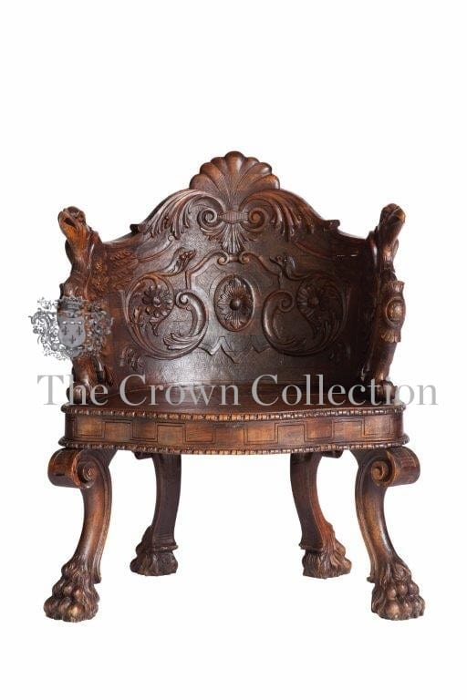 Late 19th Century Restored Renaissance Style Wood Carved Armchair of Klismos Form