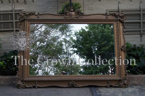 19th Century Victorian Giltwood Mirror with Centralised Armorial Crest circa 1860