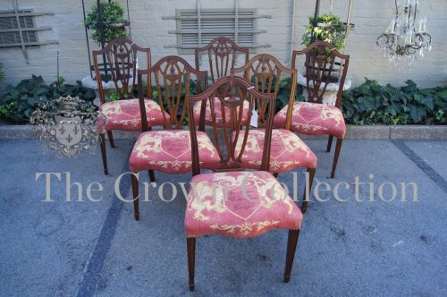 A Fine & Rare Set of 6 George III Hepplewhite Period Mahogany Shield Back Chairs with Serpentine Seat rails