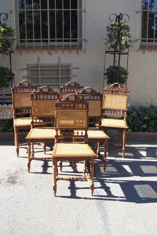 Set of 6 Early 20th Century Oak Chairs with Rattan Seats
