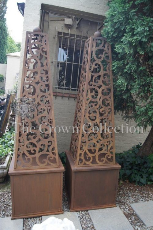 Pair Wrought Iron Obelisks