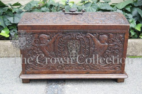 Carved Oak Marriage Kist - possibly German 18th/19th Century