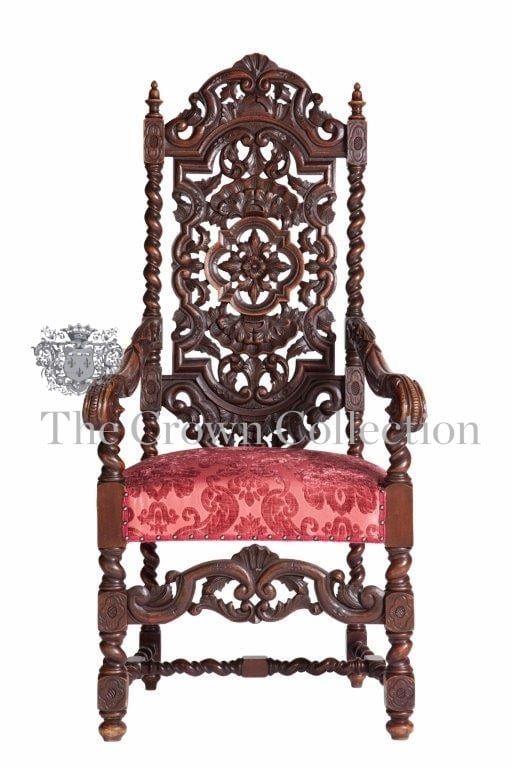 19th Century Jacobean Style Carved Oak Chair - ND