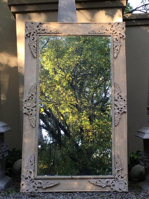 Ornate Bleached Wood Frame Bevelled Mirror