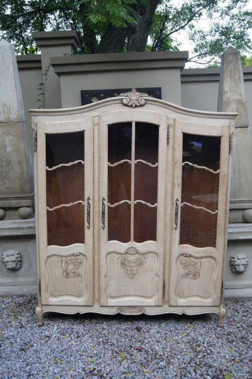 19th Century Bleached Oak 3 Door Armoire with Glass Doors