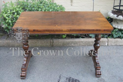 Early Victorian Rosewood Library Table with Beaded Apron