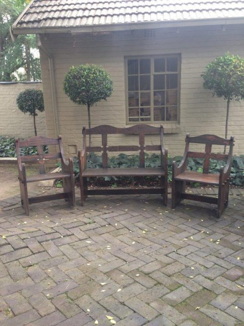 3 Piece Andalusian Style Bench and 2 Chairs
