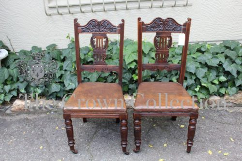 Pair Victorian Carved Walnut Hall Chairs with Leather Seats