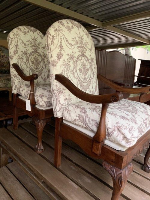 Pair antique High Back Ball & Claw Armchairs