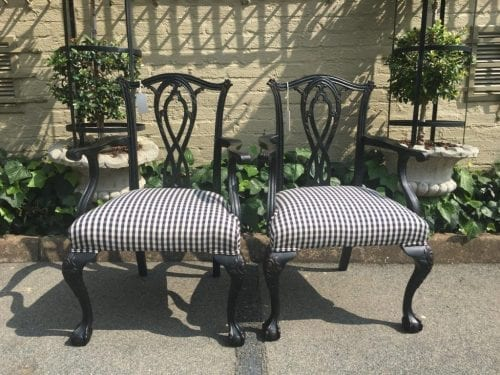 Pair Gothic Revival Ebonised Chippendale Carvers - ND
