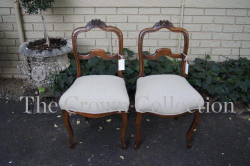 Pair Walnut Bustle Back Chairs