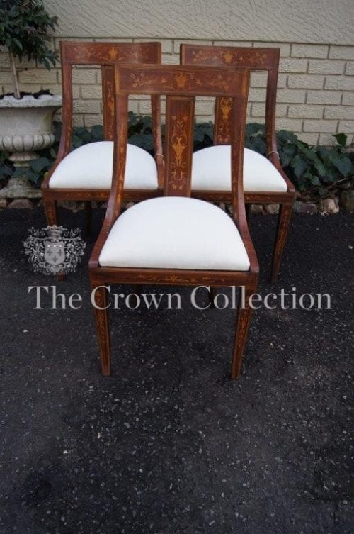 Set of 3 Vintage /Antique Bent Back Chairs with Inlay