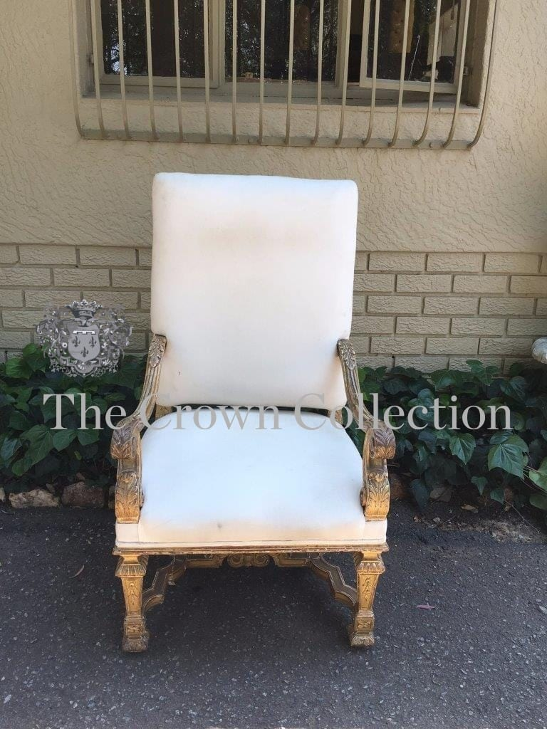 19th Century Giltwood Baroque Style Throne Chairs in the Manner of King William