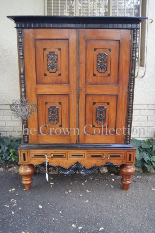 19th-Century Colonial Beef Wood & Ebonised Cabinet