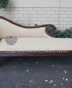 Antique Hand Carved Rosewood Regency Neo Classical Chaise Lounge on Castors