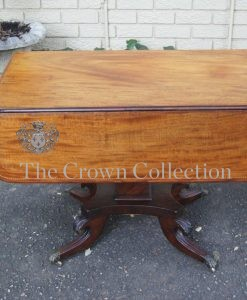 Regency Inlaid Mahogany Dropside Breakfast Table with Brass Capped Claw Feet on Castors