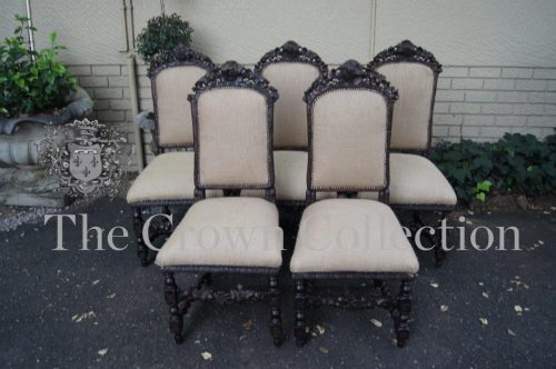 Set of 5 19th-Century Carved Oak Dining Chairs