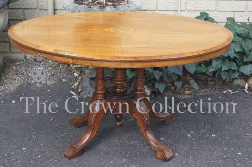 Victorian Inlaid Walnut Loo Table