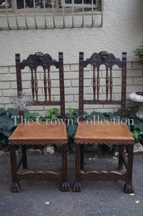 Pair French Britton Oak Chairs with Original Leather & Studded Seats