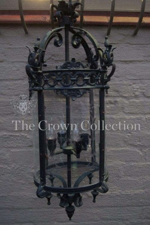 Vintage Cut Glass & Wrought Iron Lantern