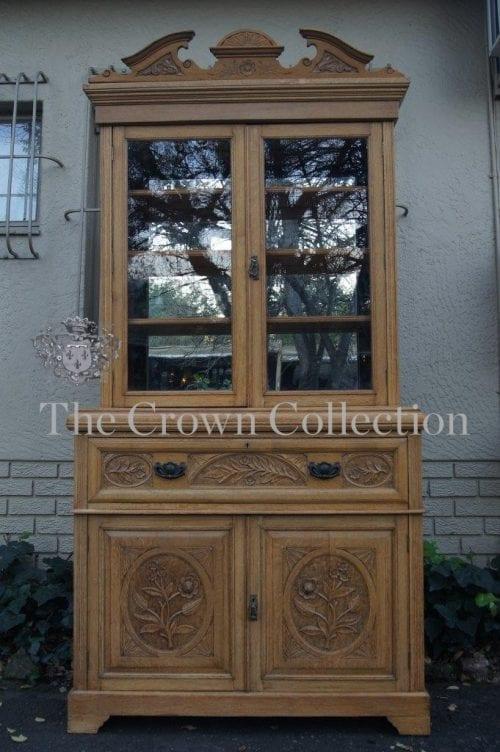 Edwardian Oak Escretoire Bookcase
