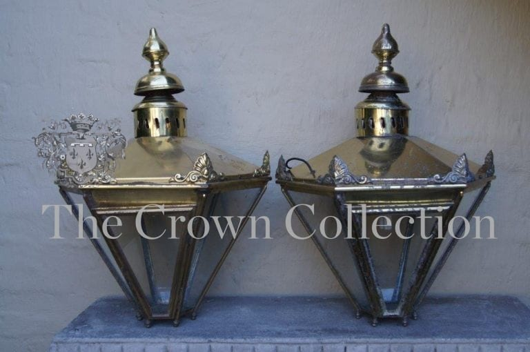 Pair Impressive Victorian Hexagonal Brass Lanterns
