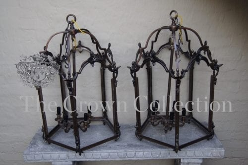 Pair Vintage Wrought Iron Lanterns