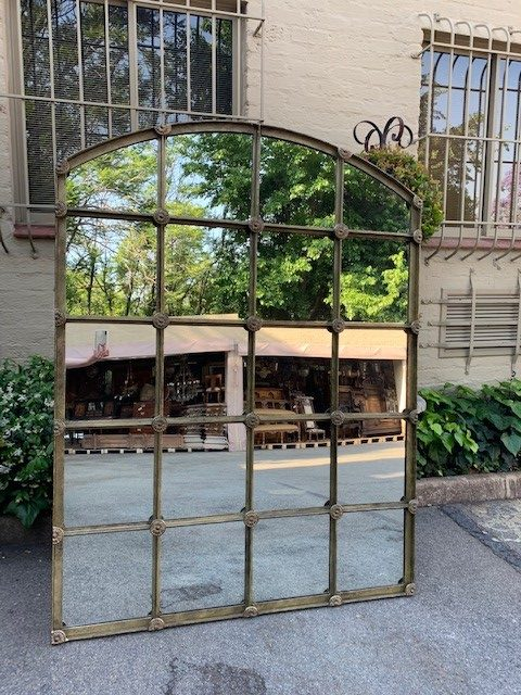 Wrought Iron Arched Window Pane Mirror Gilded The