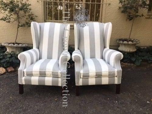 Pair Wingback Upholstered Chairs in Broad White & Grey Stripe Fabric