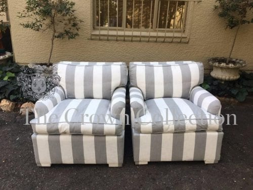 Pair Slipper Upholstered Chairs in Broad White & Grey Stripe Fabric