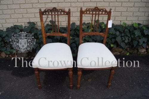 Pair Late 19th Century Carved Walnut Framed Side Chairs