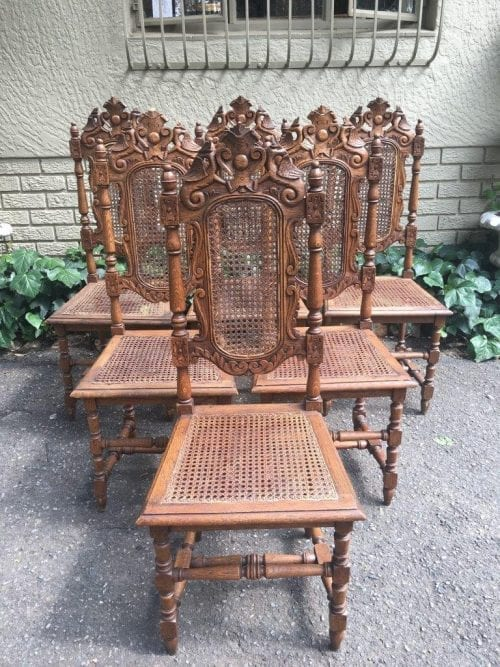 Set of 6 16th Century Jacobean Rattan Dining Chairs