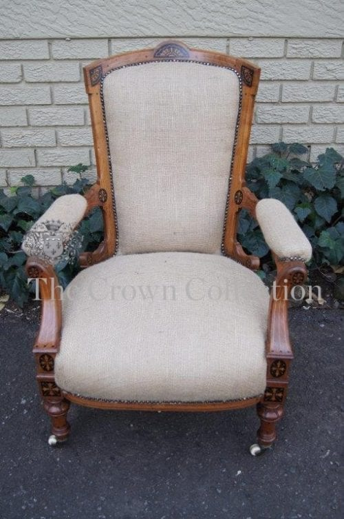 Victorian Walnut Inlaid Armchair