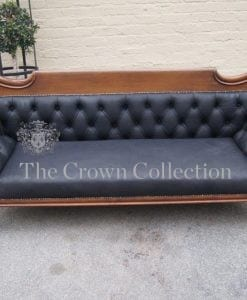 Victorian Scroll Arm Deep Buttoned Leather Settee