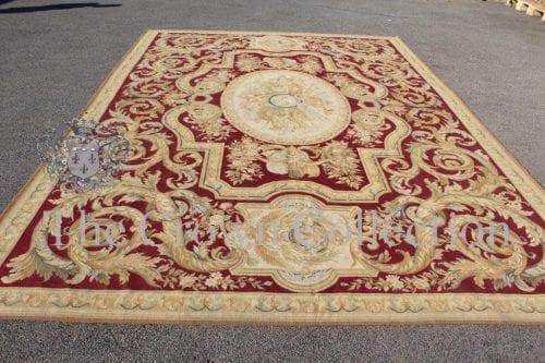 Aubusson Classic Burgundy & Gold Needlepoint Carpet