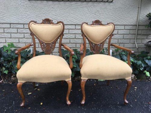 Pair Late 19th Century Walnut Armchairs