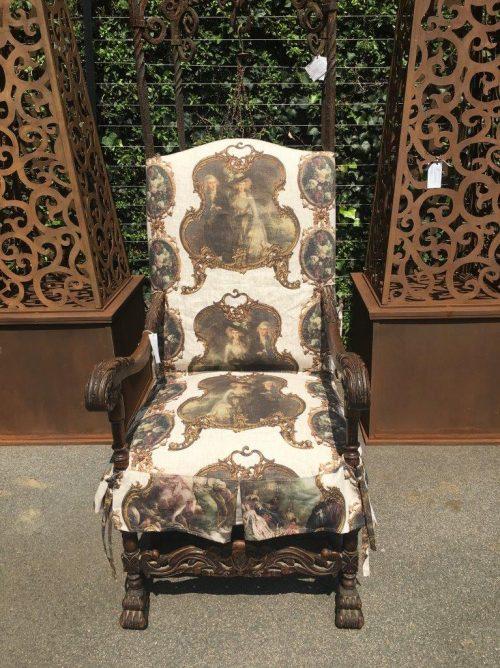 Dark oak Armchair on Claw Feet
