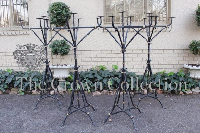 Set of 4 Wrought Iron 5 Arm Standing Candelabras