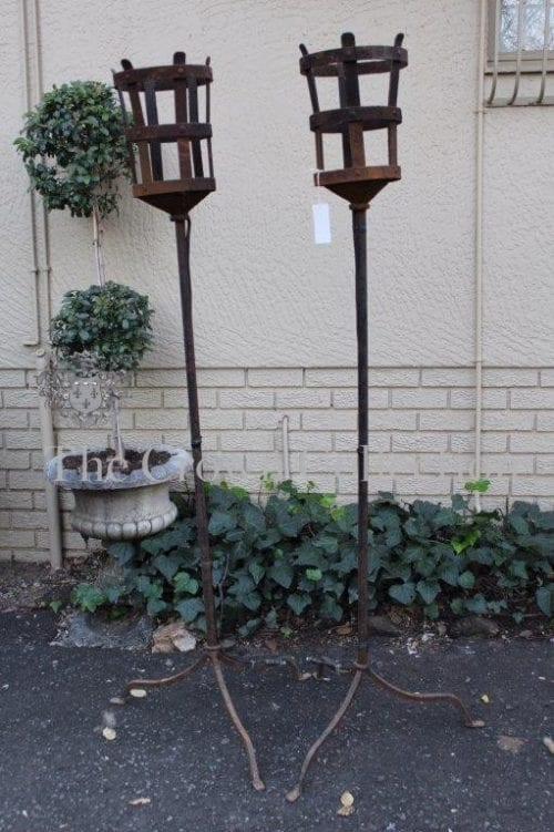 Pair Wrought Iron Torches