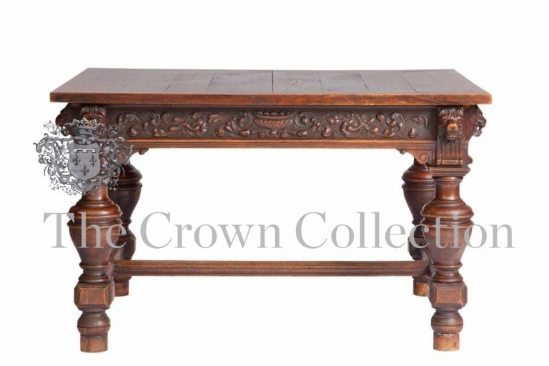 19th Century Dutch Carved Oak Library Table
