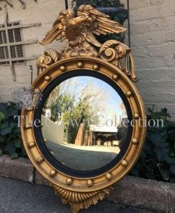 19th Century Regency Style Gilded Convex Mirror with Eagle Cresting