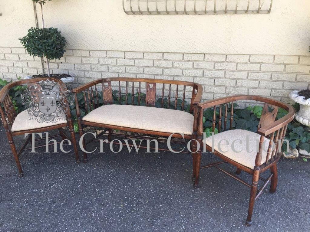 comprising 2 Tub Chairs and a Settee in the Art Nouveau taste. English Circa 1900.