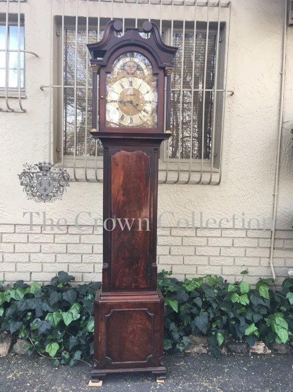 Georgian Mahogany Grandfather Clock with Hand Painted Dials. Benjamin Peers