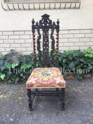 19th Century English Oak Barley Twist Hall Chair with Tapestry Upholstery